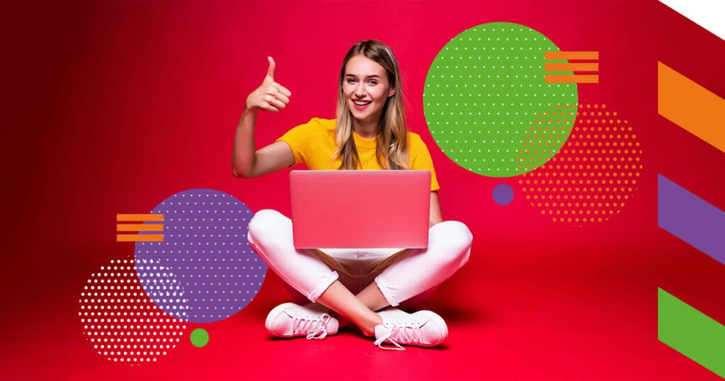 distance learning woman laptop gamification